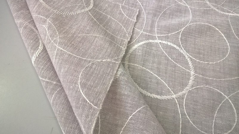 Tessuto tendaggio misto lino fantasia a puntini - tortora/bianco2