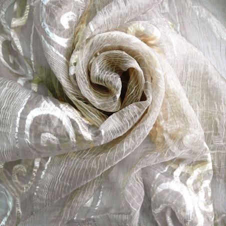 Tessuto per tende in organza a righe - grigio/oro