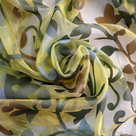 Tessuto per tende in organza a foglie verde e marrone