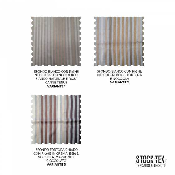 Tessuto tendaggio Bristol motivo a righe verticali colorate - sfondo beige/bianco1