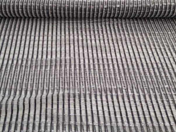 Tessuto tendaggio a rete con fili luccicanti - bianco/nero2