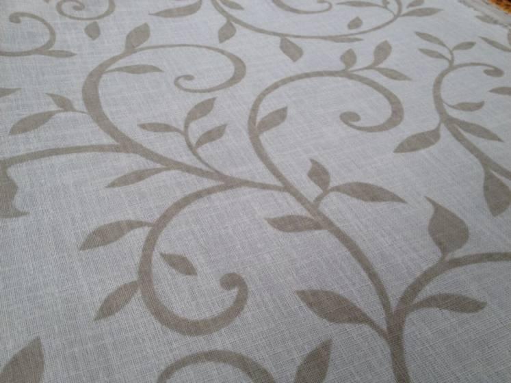 Tessuto tendaggio motivo floreale - bianco/beige/tortora