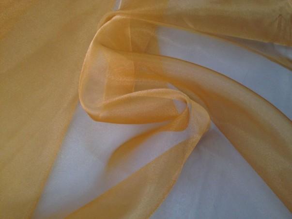 Tessuto tendaggio in organza trasparente su sfondo oro - marrone/oro/verde.