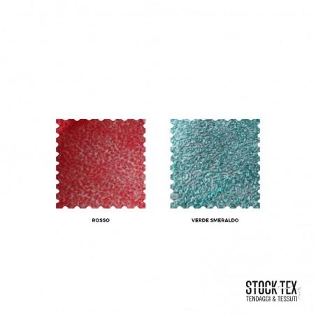 Tessuto tendaggio motivo intrecci su sfondo argento - rosso/verde