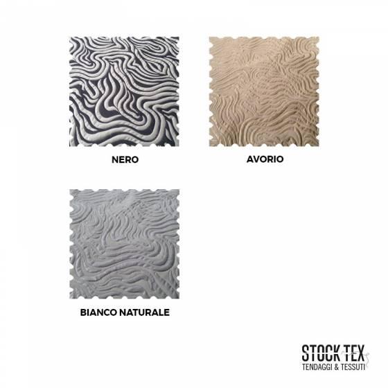 Tessuto per arredamento fantasia a righe - bianco/nero/avorio