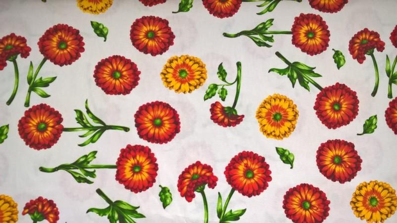 Tessuto per arredo e tovagliato motivo floreale - bianco e arancione2