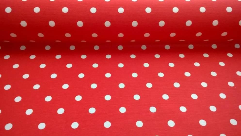 Tessuto per arredo cotone motivo pois - rosso e bianco