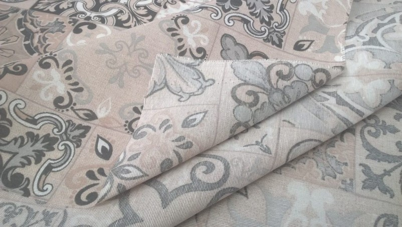 Tessuto per arredo ad effetto maiolica - colore grigio e panna