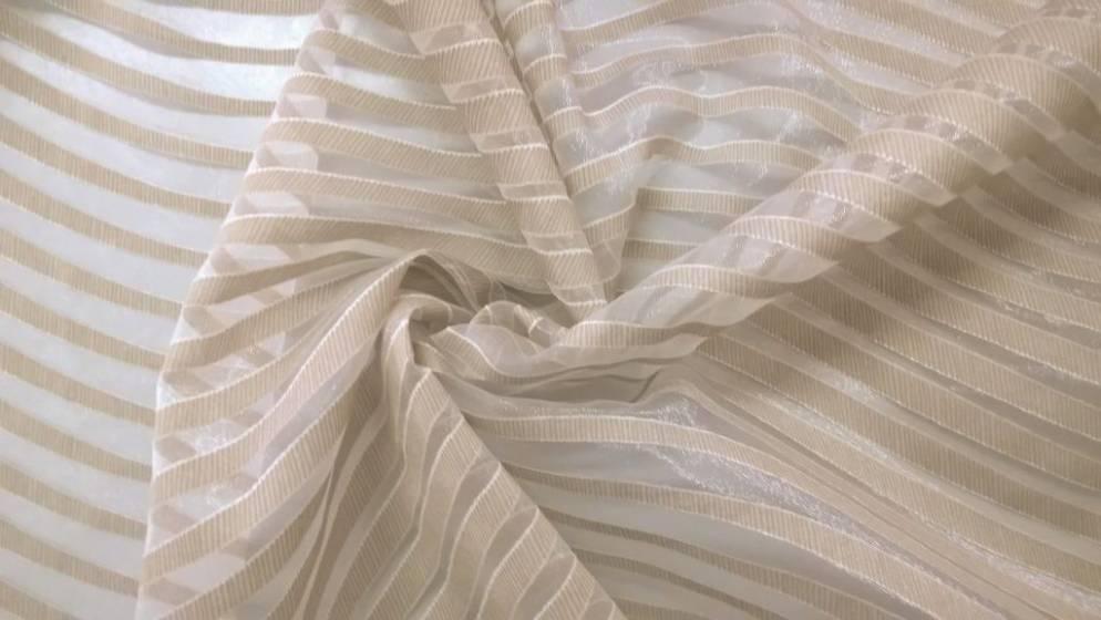 Tessuto per tende motivo righe ondulate - panna e bianco