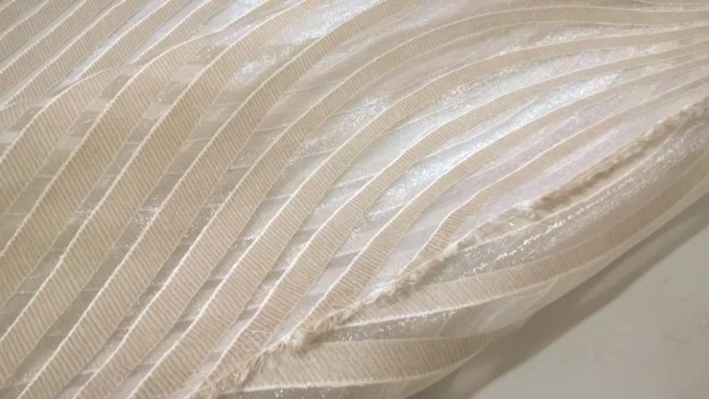 Tessuto per tende motivo righe ondulate - panna e bianco2