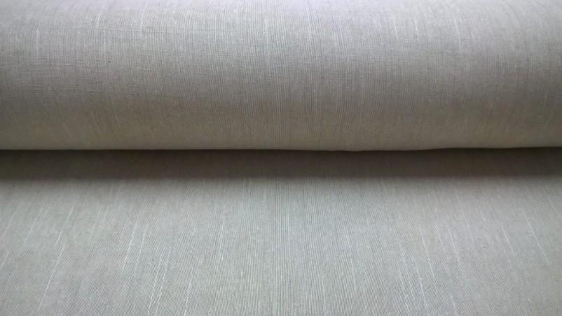 Tessuto tendaggio misto lino e cotone con trama bianca - tortora2