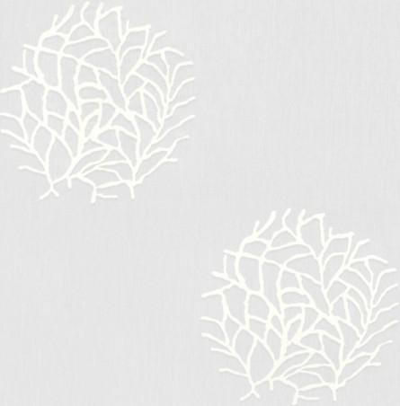 Tendaggio firmato con fantasia stilizzata a rami di corallo - bianco