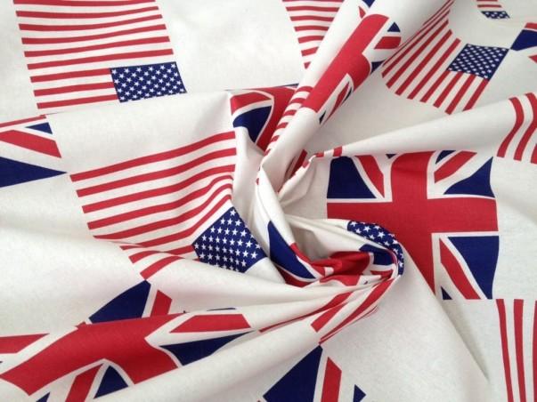 Tessuto arredo in cotone motivo bandiera inglese e usa - sfondo bianco