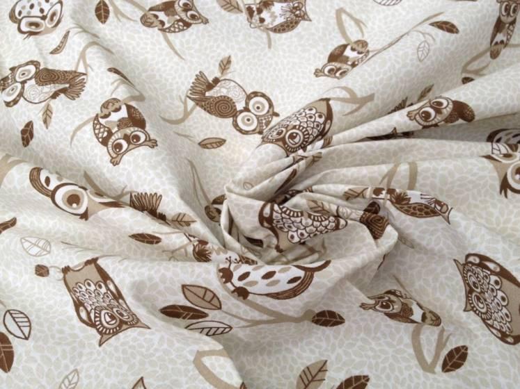 Tessuto arredo in cotone  motivo gufi - beige e marrone