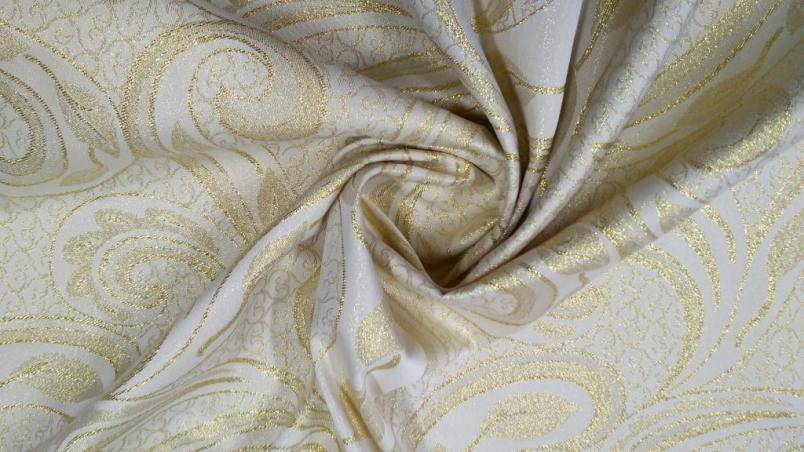 Tessuto arredo in poliestere e lurex motivo damascato - panna e oro