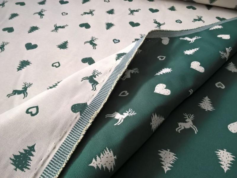 Tessuto arredo double face motivo rustico natalizio - panna e verde