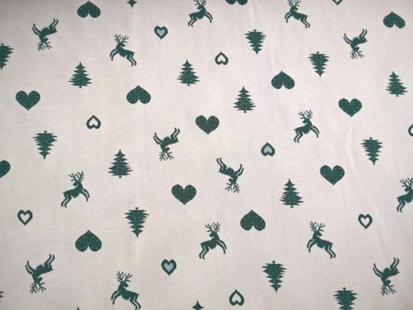 Tessuto arredo double face motivo rustico natalizio - panna e verde2