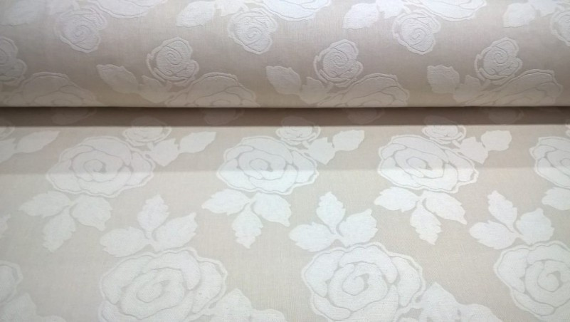 Tessuto arredo e rivestimento double face motivo floreale - beige e crema2