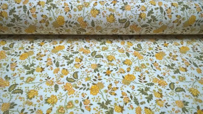 Tessuto in misto cotone fantasia fiori ad effetto vintage - bianco e giallo2