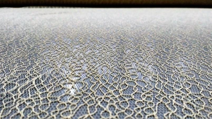 Tessuto per tende in pizzo stile vintage - giallo oro2