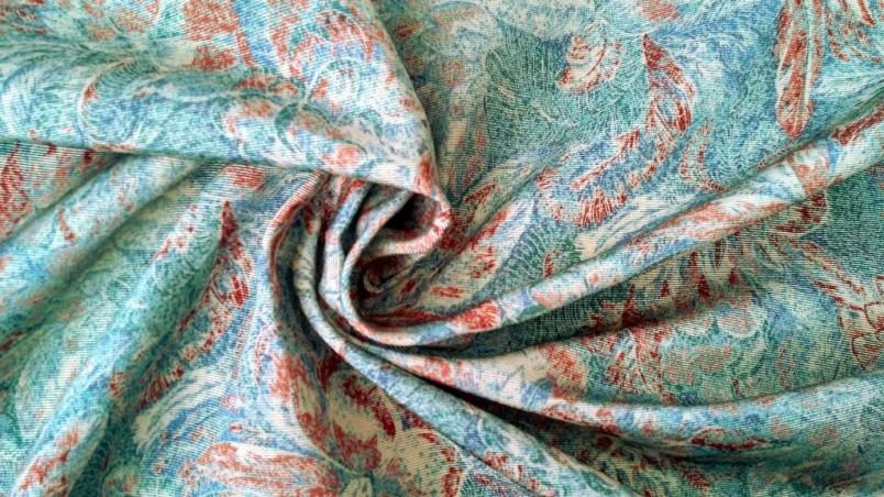 Tessuto arredo stile vintage a fantasia floreale - verde