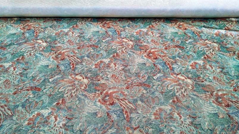 Tessuto arredo stile vintage a fantasia floreale - verde2