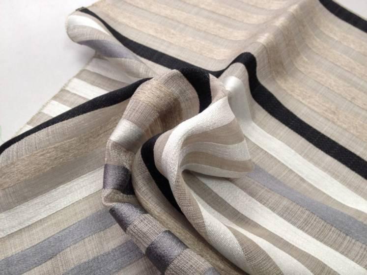 Tessuto tendaggio Bristol motivo a righe verticali colorate - sfondo grigio/tortora