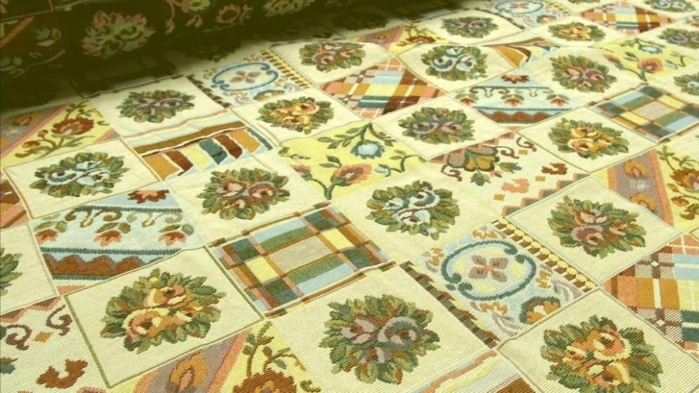 Tessuto per arredamento in cotone gobelin stile rustico - multicolor