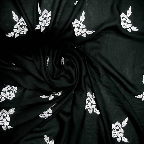 Tessuto per abbigliamento con rose ricamate - bianco e nero