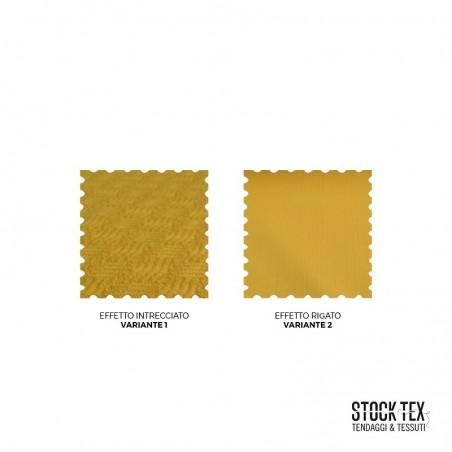 Tessuto per arredamento effetto intrecciato e rigato -Giallo