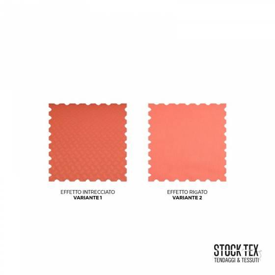 Tessuto per arredamento effetto intrecciato e rigato - rosa salmone