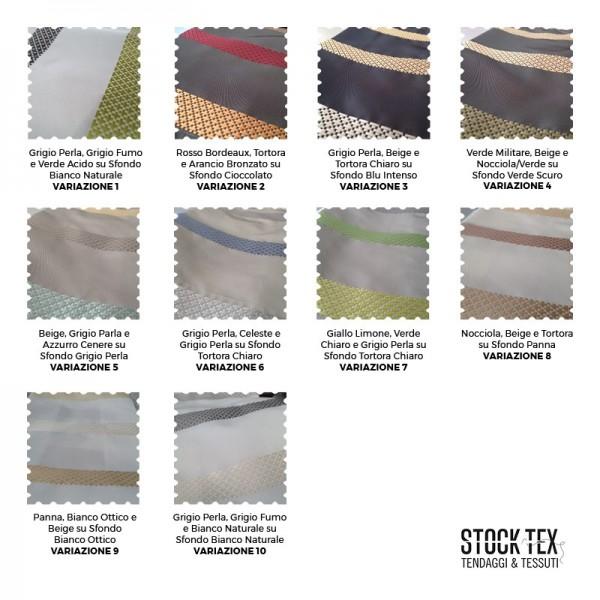 Tessuto per arredo e tendaggi motivo a fasce ricamate - varianti colori