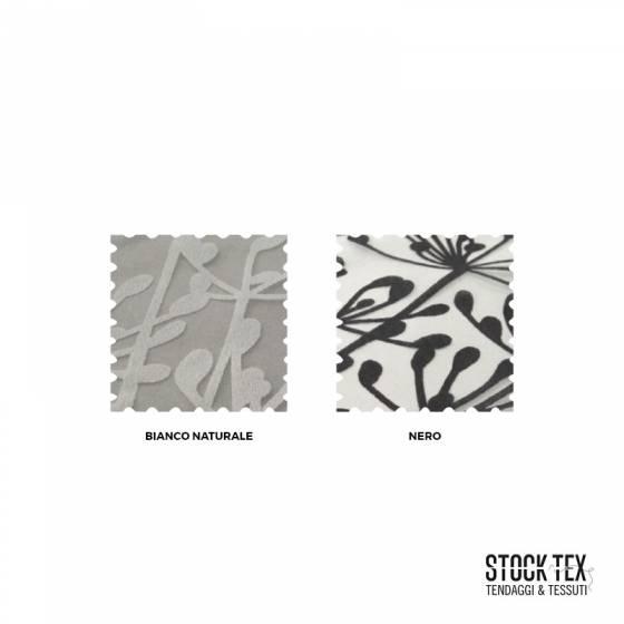 Tessuto tendaggio bianco velo motivo floreale - varianti colori fantasia