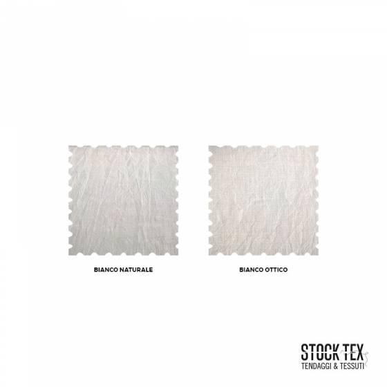 Tessuto tendaggio misto lino effetto stropicciato - Bianco