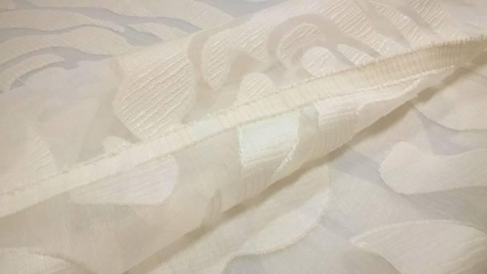 Tessuto tendaggi in organza Roses Vibe - panna/tortora1