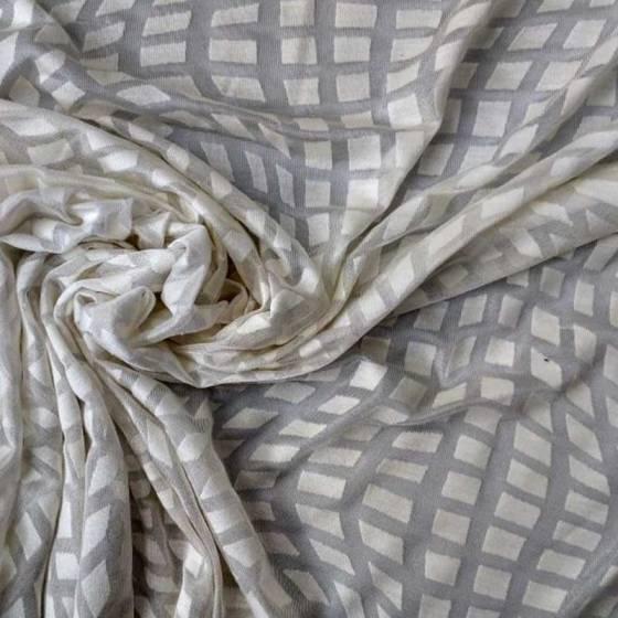 Tessuto abiti maglina effetto optical devorè - bianco2
