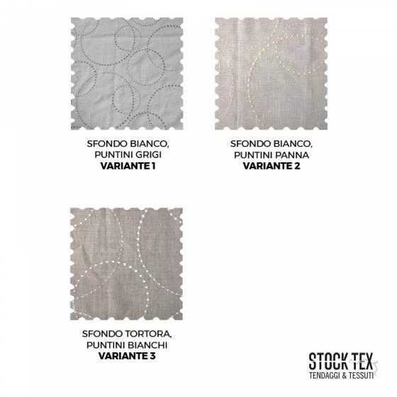 Tessuto tendaggio misto lino fantasia a puntini - tortora/bianco