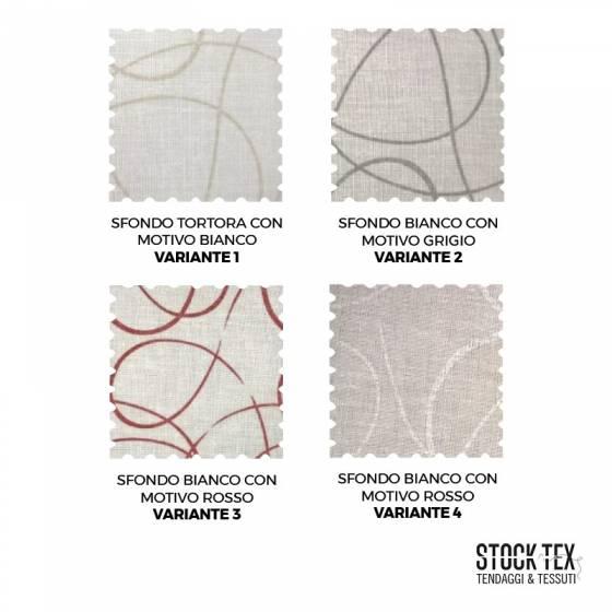 Tessuto tendaggio bianco motivo a cerchi - varianti colori