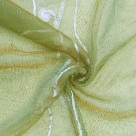 Tessuto per tendaggi in organza  fantasia disegni raffinati - cammello