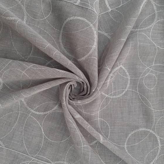 Tessuto per tendini stile shabby fantasia a cerchi - bianco/grigio/tortora