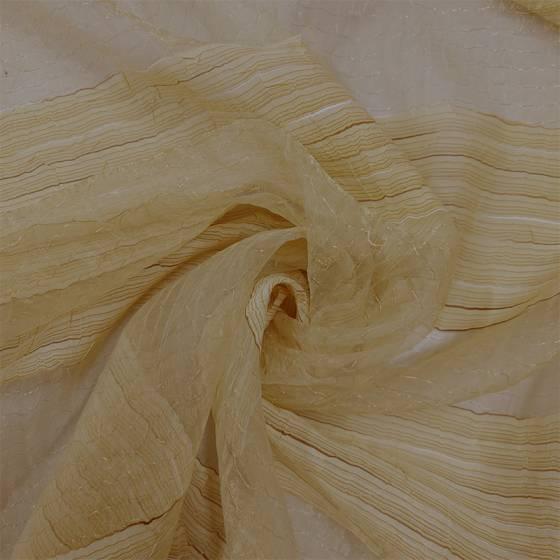 Tessuto per tende in organza a righe coupè oro - bianco e oro