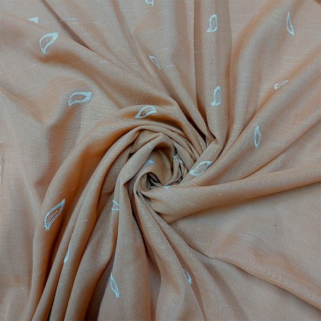 Scampolo per tende effetto shantung con ricami - rosa salmone