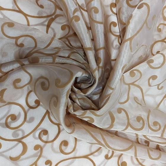 Tessuto per tende motivo damascato ramage in velluto oro - blu/nocciola