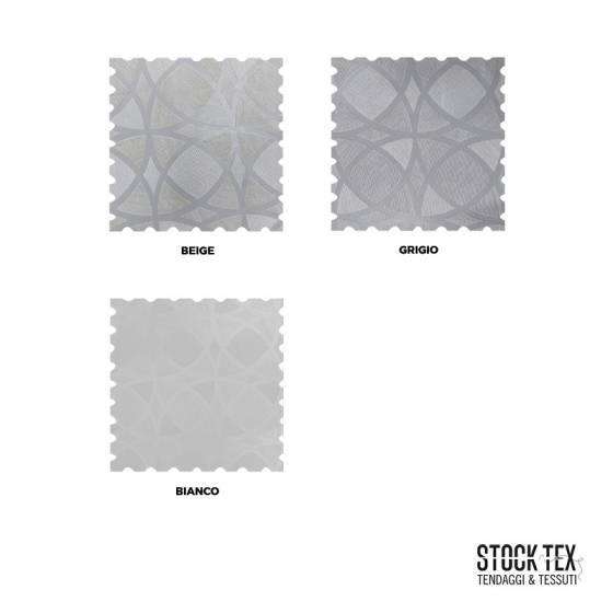 Tendaggio fantasia geometrica a cerchi - beige/grigio/bianco