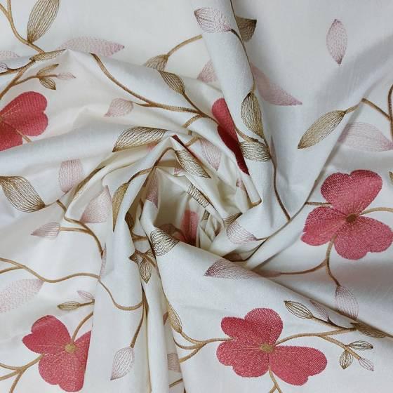 Tendaggio con ricami floreali rosa - bianco