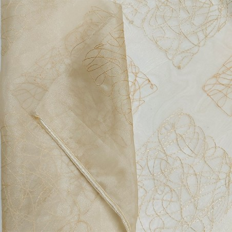 Tendaggio in organza con ricami a quadri brillanti - beige2