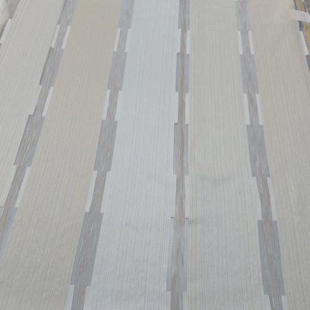 Tendaggio a fasce verticali e righe tortora - avorio e crema