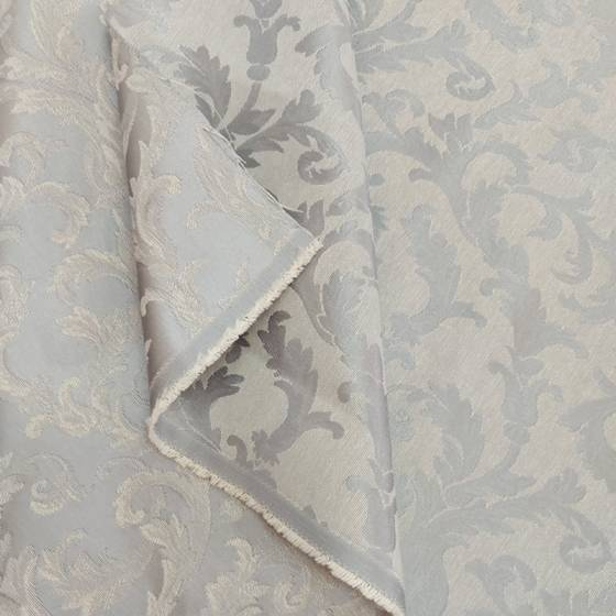 Tessuto tendaggio motivo floreale damascato - bianco/grigio2