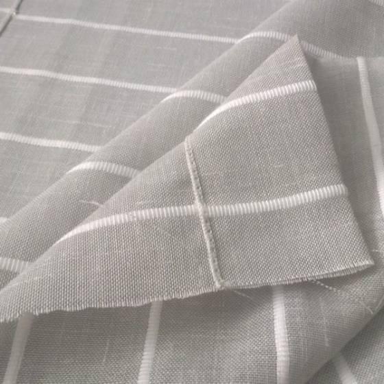 Tessuto per tendini shabby con righe orizzontali - grigio