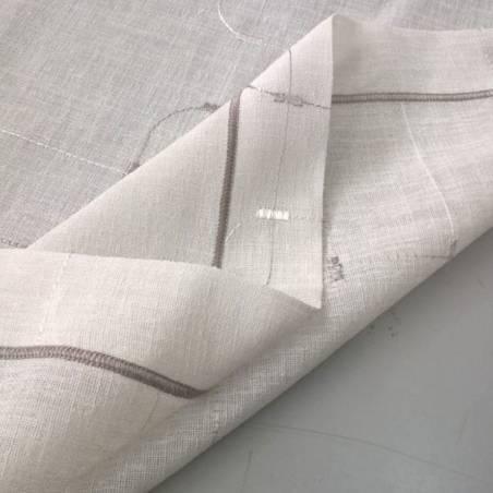 Tessuto per tendini con ricami a fantasia geometrica - bianco